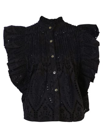 Ganni Cropped Lace Blouse