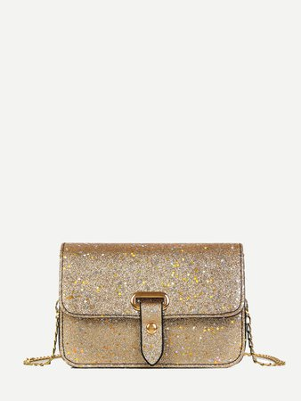 Flap Glitter Chain Bag