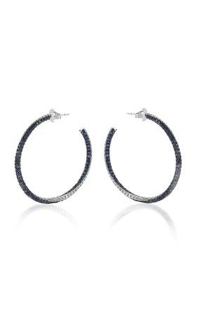 Blue Ivy 14k White Gold, Diamond And Blue Sapphire Earrings By Tullia   Moda Operandi