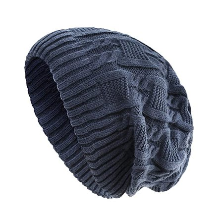 Surblue Unisex Trendy Beanie Warm Oversized Chunky Cable Knit Slouchy Woolen Hat, Blue at Amazon Women's Clothing store
