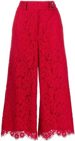 Lace Wide-Leg Cropped Trousers