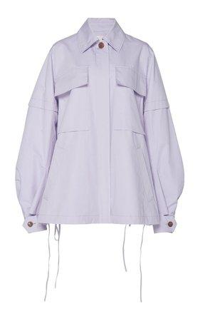 Blouson Sleeve Cotton-Blend Jacket
