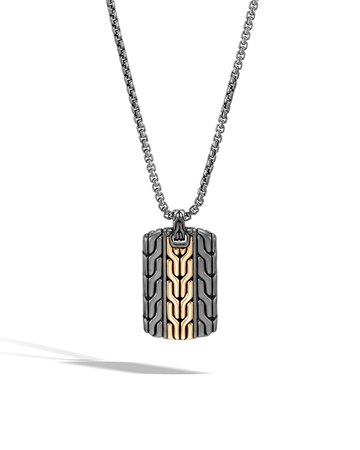 "John Hardy 26"" Rhodium & 18k Gold Classic Chain Dog Tag Necklace"
