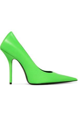 Balenciaga   Square Knife neon leather pumps   NET-A-PORTER.COM