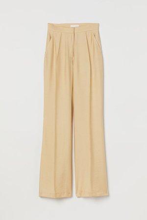 Wide-leg Creased Pants - Beige - Ladies | H&M US