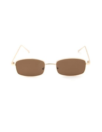 Breezy Slim Gold Rectangle Sunglasses - GOLD - BREEZYGOLD | Tillys
