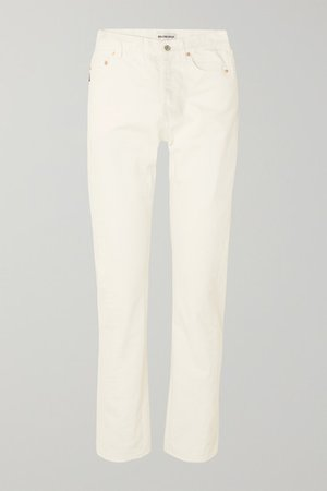 Twisted High-rise Straight-leg Jeans - White