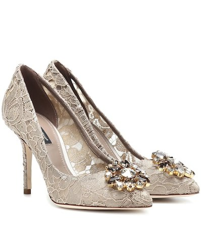 Belluci embellished lace pumps