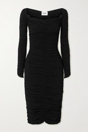 Charmaine Ruched Stretch-knit Midi Dress - Black