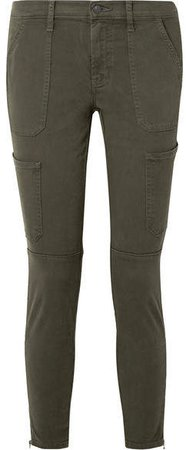 Cropped Cotton-blend Twill Skinny Pants - Army green