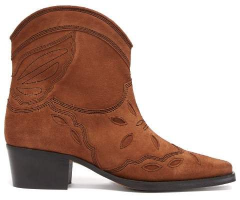 Texas Suede Cowboy Boots - Womens - Tan