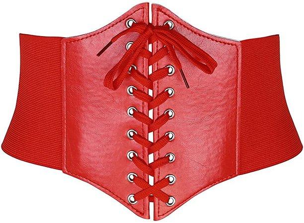 Ayliss Women Elastic Wide Band Tied Waspie Corset Waist Cincher Belt,Red: Amazon.co.uk: Clothing