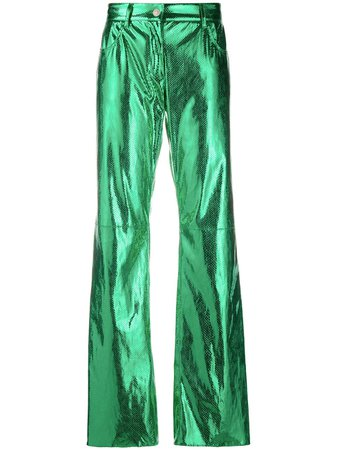 MSGM Metallic Flared Trousers - Farfetch