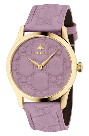 Gucci G-Timeless Gold Pvd Case 38Mm Pastel Purple Leather Strap Watch In Purple/ Gold | ModeSens