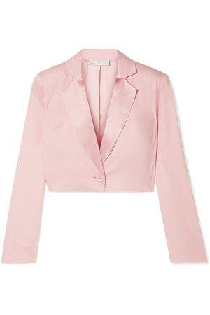 Fleur du Mal | Cropped satin-trimmed silk and wool-blend piqué blazer | NET-A-PORTER.COM