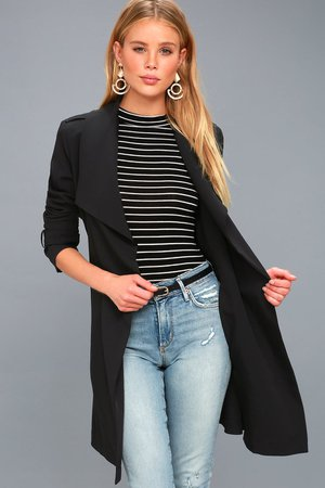 Chic Black Trench Coat - Belted Black Trench Coat - Lulus