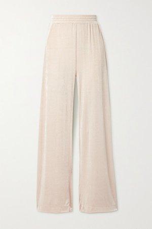Gates Stretch-knit Wide-leg Pants - Beige