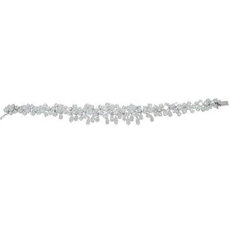 Vintage Diamond Flowers Platinum Bracelet