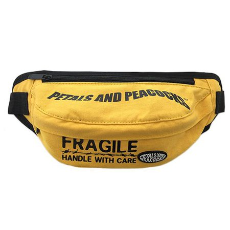 HANDLE WITH CARE WAIST BAG YELLOW PETALS AND PEACOCKS