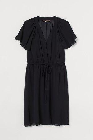 H&M+ Flutter-sleeved Dress - Black