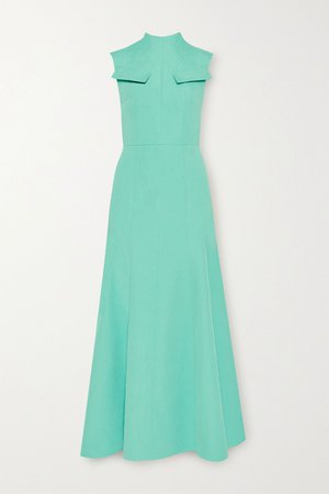 Turquoise Iago cutout pleated cloqué maxi dress | Emilia Wickstead | NET-A-PORTER