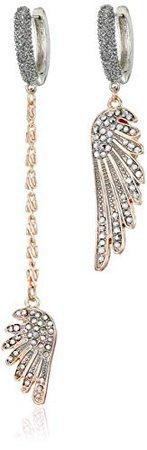 Betsey Johnsonb Wing Linear Mismatch Earrings, Crystal, One Size: Clothing