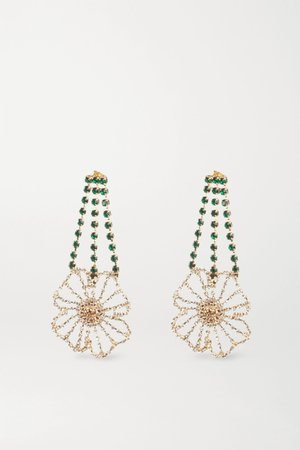 Gold Gold-tone crystal earrings   Rosantica   NET-A-PORTER