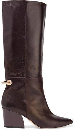 Rowan Embellished Leather Knee Boots - Dark brown