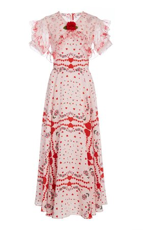 Appliquéd Ruffled Printed Silk-Chiffon Maxi Dress By Rodarte | Moda Operandi