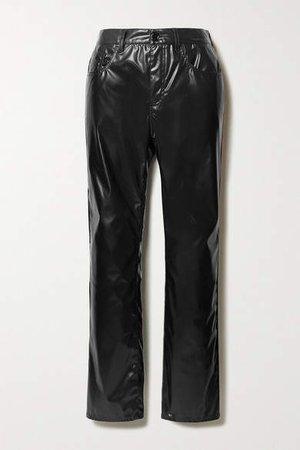 Vinyl Straight-leg Pants - Black