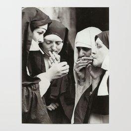 Nuns Smoking Art Print by restoredvintage | Society6
