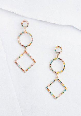 Geometric Glam Dangle Earrings Multi   ModCloth