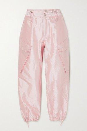 Silk-satin Cargo Pants - Pink
