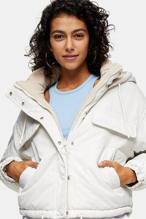 White Reversible Padded Puffer Jacket