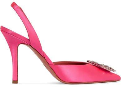 Muaddi - Begum Crystal-embellished Satin Slingback Pumps - Pink