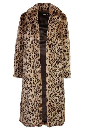 Leopard Faux Fur Longline Coat | Boohoo brown