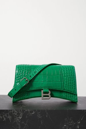 Green Hourglass croc-effect leather shoulder bag | Balenciaga | NET-A-PORTER