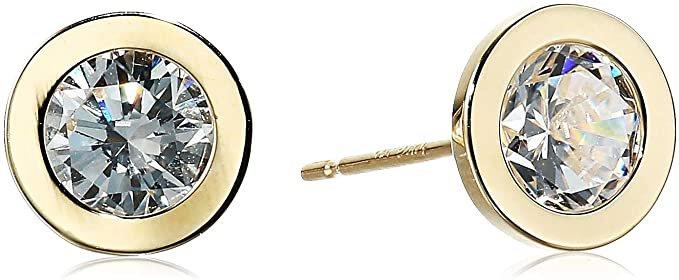 Amazon.com: 14K Gold 2cttw Swarovski Zirconia Round Stud Earrings: Clothing