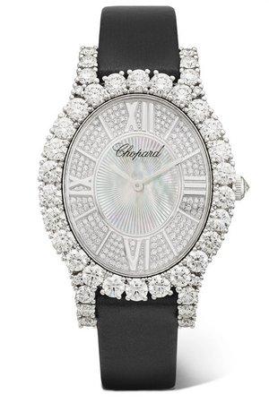 Chopard | L'Heure du Diamant 34.10mm 18-karat white gold, satin, diamond and mother-of-pearl watch | NET-A-PORTER.COM