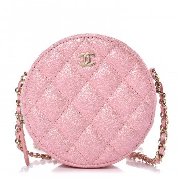 CHANEL Iridescent Caviar Quilted Round Clutch With Chain Rose Pink 381146