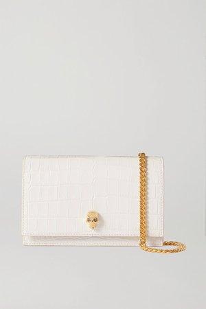 Skull Croc-effect Leather Shoulder Bag - White