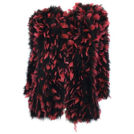 Anne Green 1960's Black and Magenta Feather Coat For Sale at 1stdibs