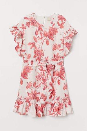 Linen-blend Flounced Dress - Orange