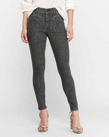 High Waisted Hyper Stretch Black Seamed Ankle Skinny Jeans