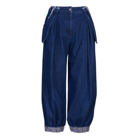Wolf & Badger Baggy Dark Blue Jeans by Acephala