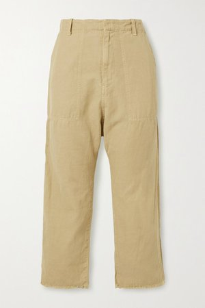 Luna Cropped Cotton And Linen-blend Twill Tapered Pants - Sand