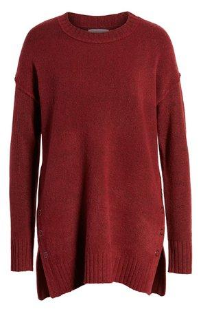 Caslon® Side Snap Tunic Sweater (Regular & Petite) burgundy