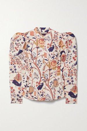 Ecru Harriet floral-print cotton-poplin blouse | Ulla Johnson | NET-A-PORTER