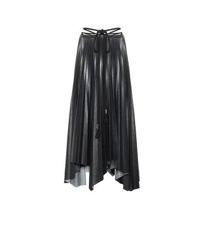 Nanushka - Beeja pleated faux leather midi skirt | Mytheresa
