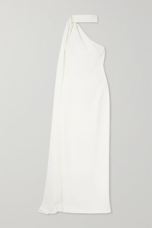 BRANDON MAXWELL, One-shoulder draped crepe gown